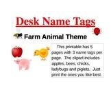 Desk Name Tags  (Farm Animals-5 styles)