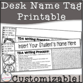 Desk Name Tags For the Reading, Writing, and Math Teacher (Black+White)