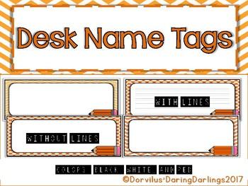 Desk Name Tags - Orange