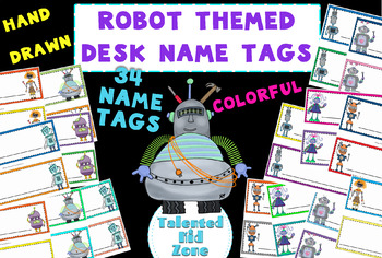 34 Desk Name Tags - Robot Theme