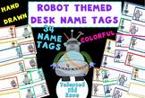 34 Desk Name Tags - Robot Theme