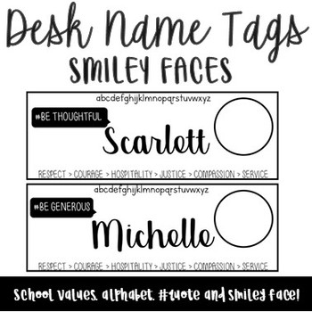 Desk Name Tags - Smiley Faces