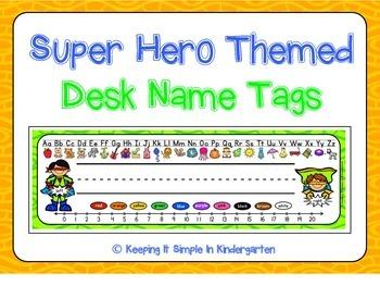 Desk Name Tags - Super Hero Themed