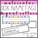Desk Name Tags (Watercolor, Editable, Name Plates)