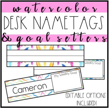 desk name tags watercolor editable name plates by endless edventures