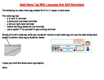 Desk Name Tags With Language Arts Skill Reminders