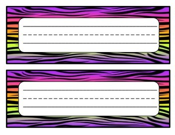 Desk Name Tags Zebra Print (10 different designs)