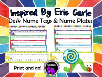 Desk Name Tags and Name Plates - Eric Carle Inspired Theme