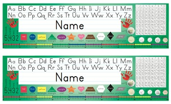 Desk Name Tags w/Canadian Coins & Number Line - 8.5x14 in MS Word (Editable)