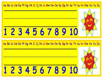First Grade - Back to School - Sun Desk Nameplate with Alphabet and Numbers