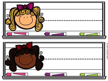 Desk Nameplates - Rainbow, Whiteboard Theme!