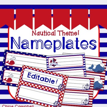 Desk Nameplates - Nautical Theme Editable!