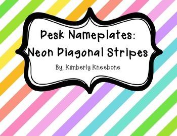 Desk Nameplates: Neon Diagonal Stripes