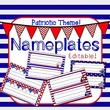 Desk Nameplates - Patriotic USA Flag Red, White, Blue Theme