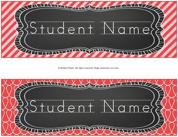 Desk Nameplates - Red Chalkboard theme