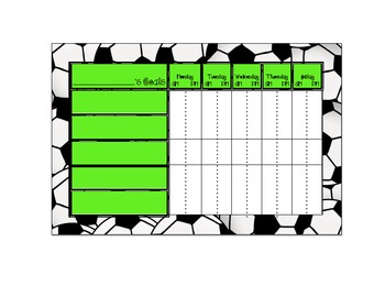 Desk Nameplates and behavior charts: Soccer balls with lime green