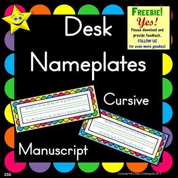 Desk Nameplates, Manuscript and Cursive