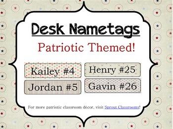 Desk Nametags {Patriotic Theme}