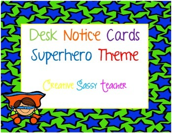 Desk Notice Cards Superhero Theme