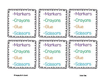 Student Desk Organizer Labels