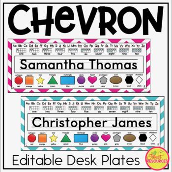 Desk Plates in Chevron Classroom Decor For Back To School