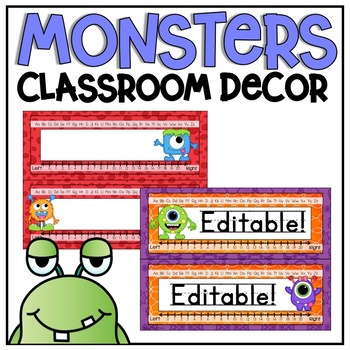 Desk Plates in a Monsters Classroom Decor Theme