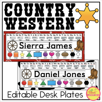 Desk Plates {Country Western Classroom Decor Theme}