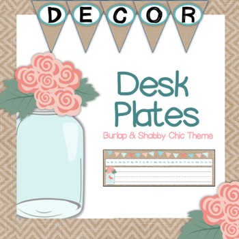Desk Plates - Burlap and Shabby Chic Themed