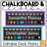 Editable Name Tags {Chalkboard and Chevron Classroom Decor Theme}