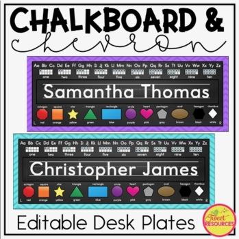 Editable Name Tags {Chalkboard and Chevron Classroom Decor Theme}