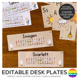 Desk Plates Editable Version with Alphabet + Number Line 0-20