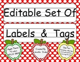 Desk Plates, Labels, Tags & More! ***EDITABLE***  ~Apple Theme~