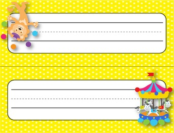 Desk Plates, Labels, Tags & More!  ***EDITABLE***  ~Circus Theme~