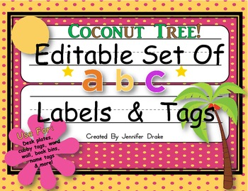 Desk Plates, Labels, Tags & More!  **EDITABLE**  ~Coconut
