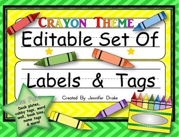 Desk Plates, Labels, Tags & More!  ***EDITABLE***  ~Crayon Theme~