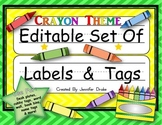 Desk Plates, Labels, Tags & More!  ***EDITABLE***  ~Crayon Theme~