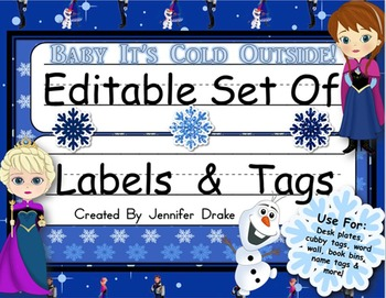 Desk Plates, Labels, Tags & More!  ***EDITABLE*** ~Cold Princess Theme~