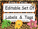 Desk Plates, Labels, Tags & More!  ***EDITABLE*** ~Jungle Theme~