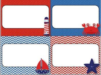 Desk Plates, Labels, Tags & More!  ***EDITABLE*** ~Nautical Theme~