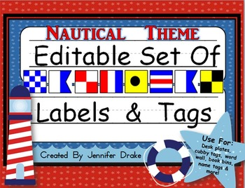 Desk Plates, Labels, Tags & More!  ***EDITABLE*** ~Nautica
