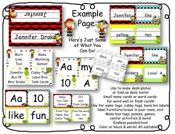 Desk Plates, Labels, Tags & More!  ***EDITABLE***  ~Pirate Theme~