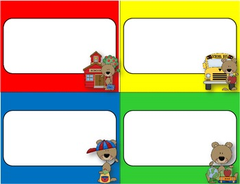Desk Plates, Labels, Tags & More!  ***EDITABLE***  ~School Bears Theme~