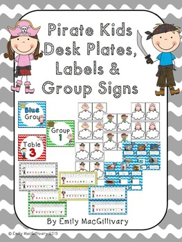 Desk Plates, Labels and Group Signs: Pirate Kids Theme