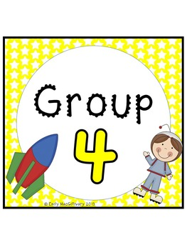 Desk Plates, Labels and Group Signs: Space Kids Theme