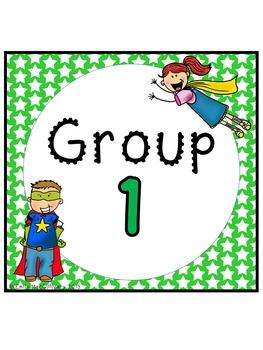 Desk Plates, Labels and Group Signs: Super Hero Kids Theme