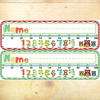 Desk Plates - Owls with Number Line