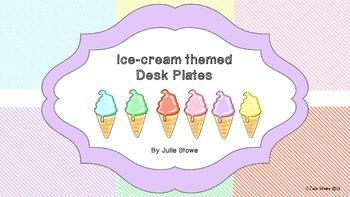 Desk Plates - Summer Ice-cream theme