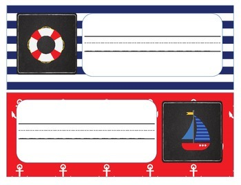 Desk Plates and Labels with Red and Navy Blue Nautical Theme