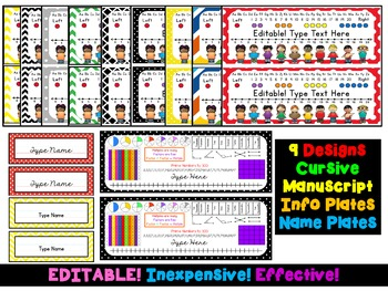 Desk Plates and Name Tags {EDITABLE} 9 Designs! Primary AND Upper Grades!