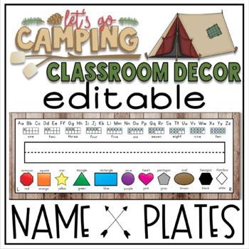Desk Plates in a Camping Classroom Decor Theme